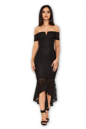 Women's Black Lace Bardot Fishtail Dress