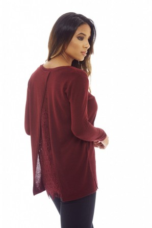 Women's Split Back Lace Knitted  Wine Top