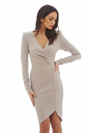 Women's Wrap Front Long Sleeved  Grey Dress