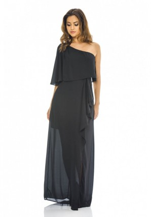 Women's One Shoulder Maxi  Black Dress