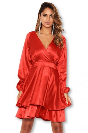 Women's Red Satin Dress