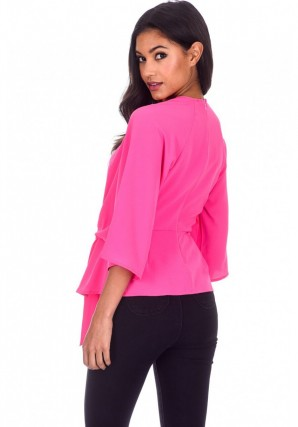 Women's Cerise Flared Sleeve Tie Waist Detail Top