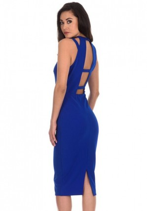 Women's Cobalt Double Strap Midi Dress