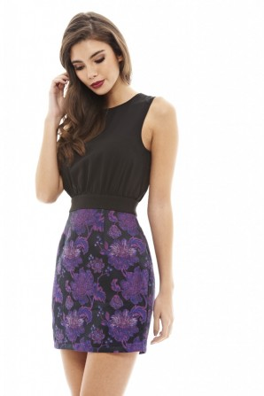 Women's Bright Floral Two In One Purple Dress