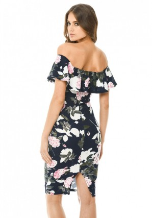 Women's Navy Printed Floral Bardot Midi Dress