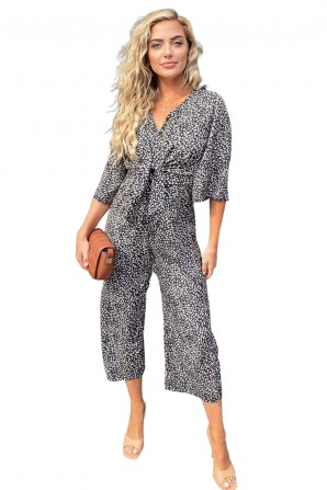 Women's Black Aztec Tie Front Jumpsuit