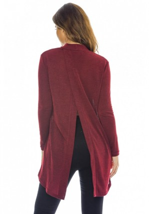 Women's Split Back Knitted  Wine Top