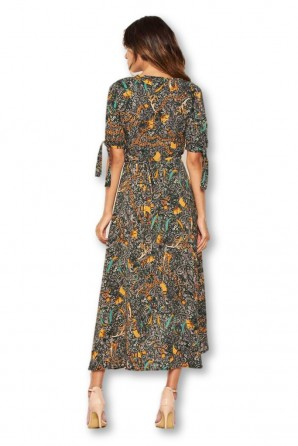 Women's Green Printed Wrap Midi Dress With Tie Sleeves
