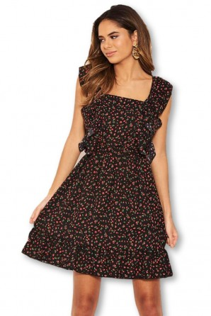 Women's Black Ditsy Floral Square Neck Frill Dress