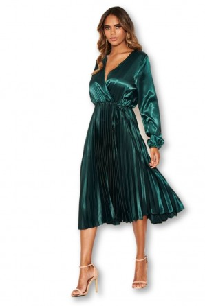 Women's Teal Wrap Pleated Satin Dress