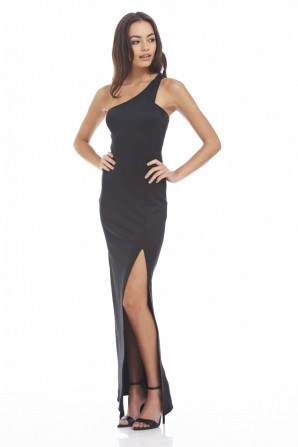 Women's Asymetric Maxi  Black Dress