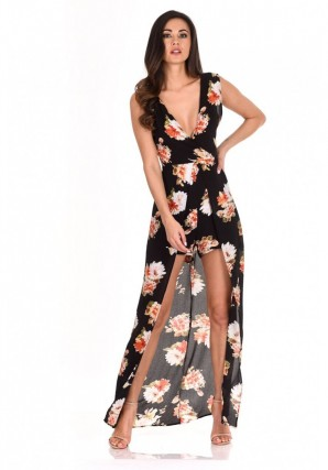 Women's Black Floral Print Wrap Skirt Romper