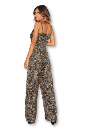 Women's Black Printed Cami V Neck Jumpsuit