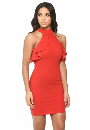 Women's Red High Neck Cold Shoulder Bodycon Dress