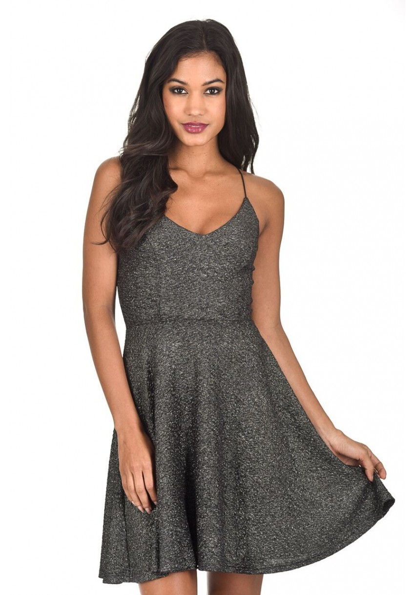 Women s Black Sparkly Strappy Skater Dress - AX Paris USA-Fashion ... df3013fa3e