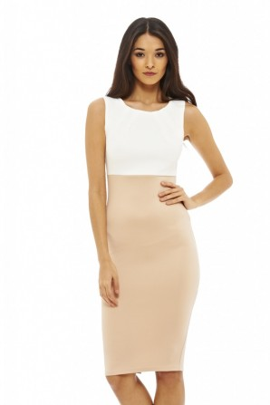 Women's 2 in ! Colour Block Nude Dress